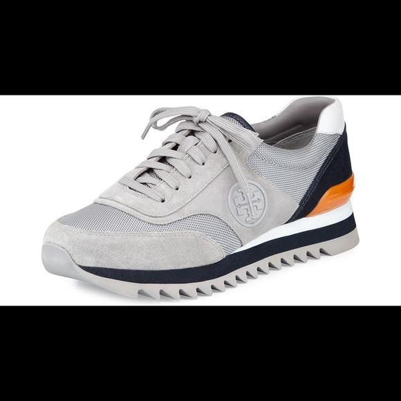 2c1c7e8c4 Like New Tory Burch Logo Sneakers. M 5aa93b6cb7f72b9bace6fa81